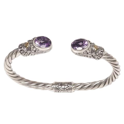 Handmade Gold Accent Dragonfly Den Amethyst Bracelet (Indonesia)