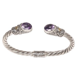 Handmade Gold Accent 'Dragonfly Den in Purple' Amethyst Bracelet (Indonesia) - Silver