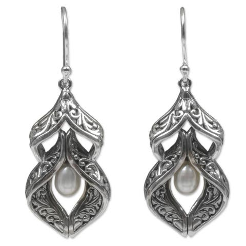 Handmade Sterling Silver Cultured Pearl Earrings (Indonesia)