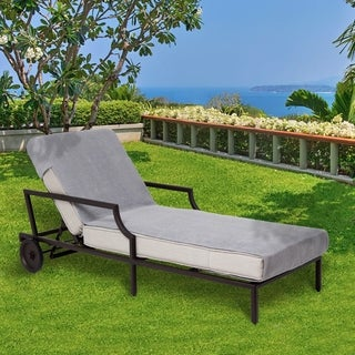 Overstock.com deals on Authentic Turkish Cotton Grey Towel Cover for Lounge Chair