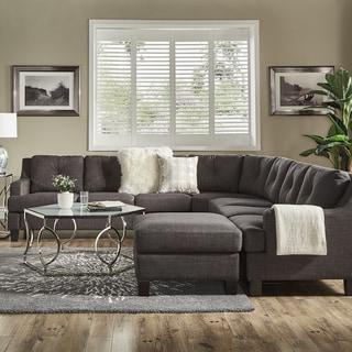 Elston Dark Grey Linen L-Shape Sectionals by iNSPIRE Q Modern