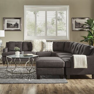 Elston Dark Grey Linen L-Shape Sectionals by iNSPIRE Q Modern