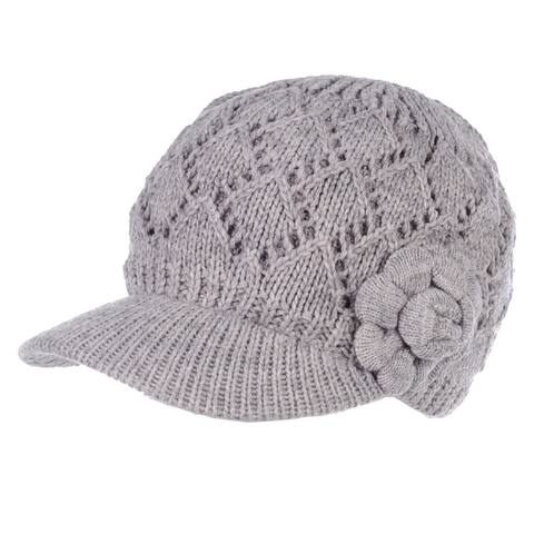 Womens Cable Knitted newsboy Cap with Visor, Warm Plush Fleece Lined