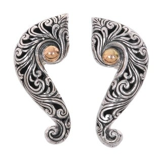 Handmade Gold Accent Sterling Silver 'Magnificent Waves' Earrings (Indonesia)
