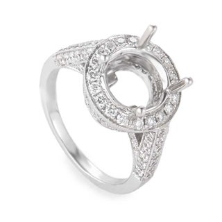 White Gold Opulent Oval Mounting Ring CRR9270