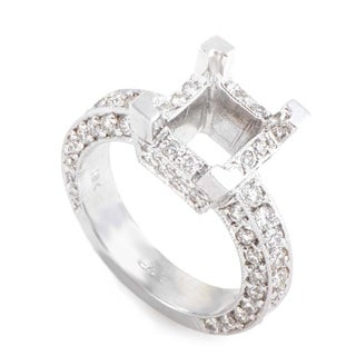 Extraordinary White Gold Diamond Pave Square Mounting Ring LBD-067822