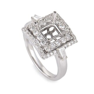 White Gold Double Squares Diamond Pave Mounting Ring CRR8249