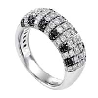 Women's  White Gold Black & White Diamond Band Ring