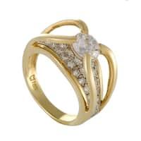 Womens  Yellow Gold Diamond Pave Engagement Ring