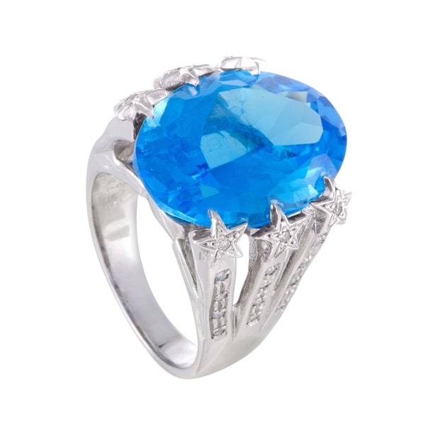 Shop Womens Large White Gold Diamond And Topaz Cocktail
