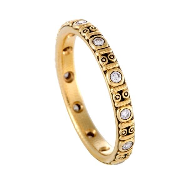 Circle Thin Yellow Gold Diamond Band Ring Free Shipping Today