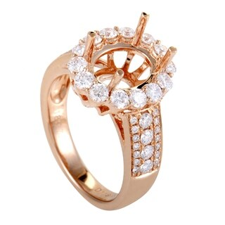 Womens Rose Gold Full Diamond Pave Oval Mounting Ring