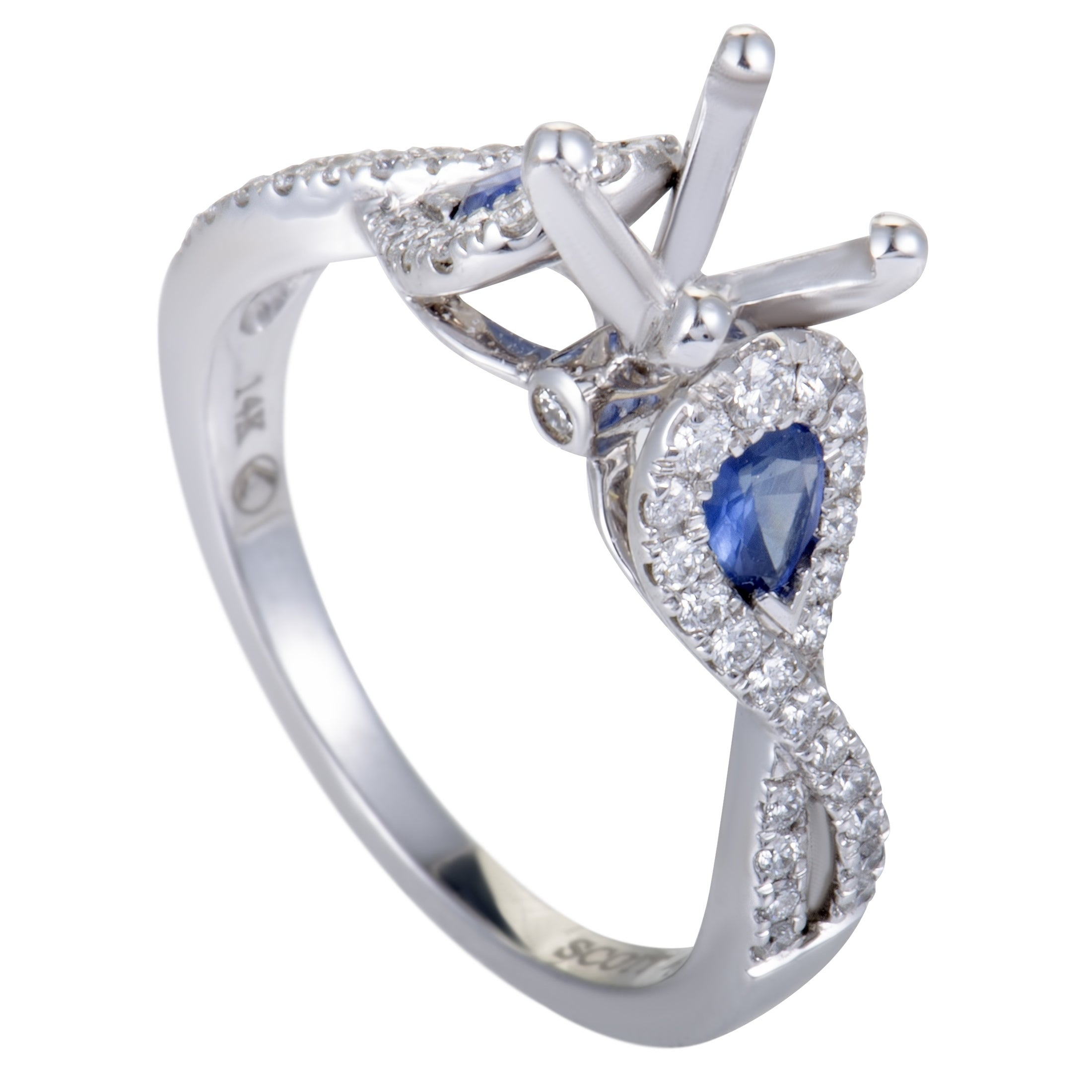 Scott Kay White Gold Diamond And Sapphire Engagement Ring Mounting Overstock 19667779