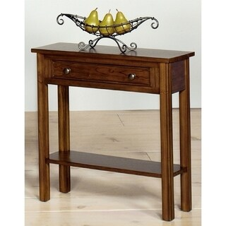 Wood Walnut Finish 1-drawer Small Console Table