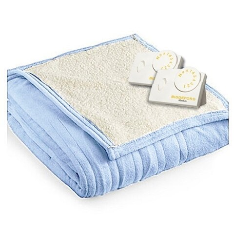 Biddeford 2064-9032138-535 MicroPlush Sherpa Electric Heated Blanket King Blue