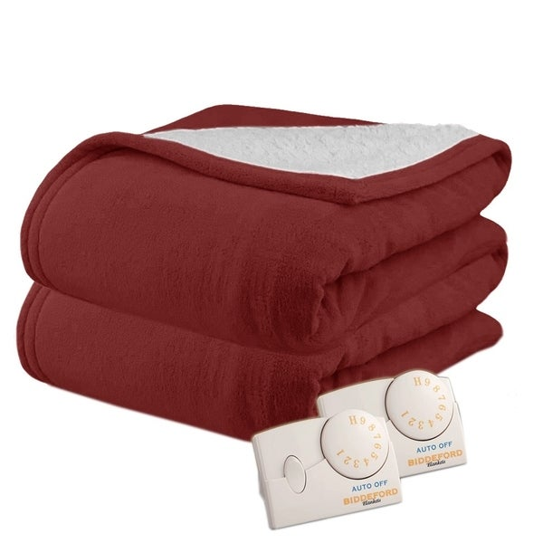 Biddeford MicroPlush Sherpa Queen-size Claret Electric Heated Blanket