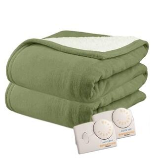 Biddeford 2064-9032138-633 MicroPlush Sherpa Electric Heated Blanket King Sage Green