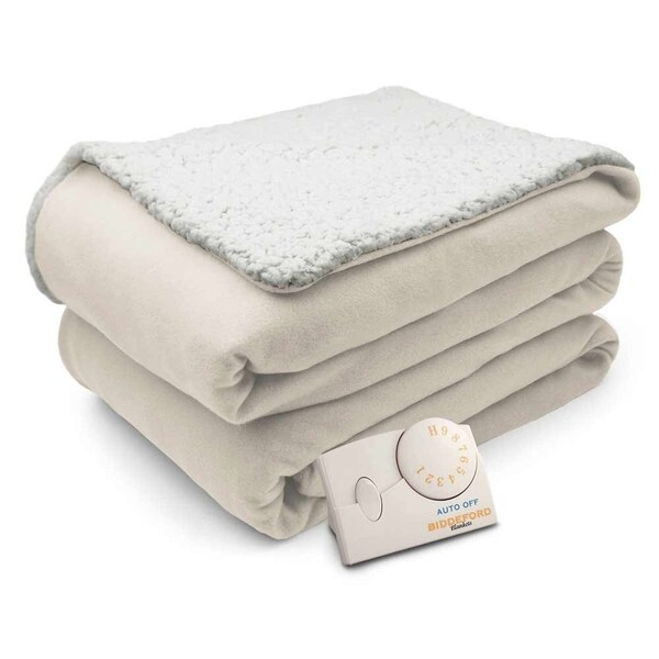 Biddeford Comfort Knit Natural Sherpa Electric Heated Blanket Twin Free Shipping Today 19667935
