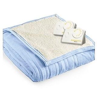 Biddeford 2063-9032138-535 MicroPlush Sherpa Electric Heated Blanket Queen Blue