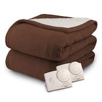Biddeford 2064-9032138-711 MicroPlush Sherpa Electric Heated Blanket King Chocolate