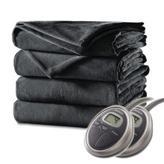 Sunbeam Charcoal Grey Queen Velvet Plush Electric Blanket