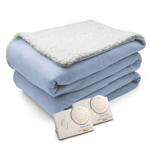 Biddeford Comfort Knit Natural Sherpa Electric Heated Blanket King Parade Blue