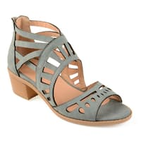 Journee Collection Women's 'Dexy' Open-toe Faux Nubuck Laser-cut Sandals