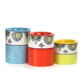 Euro Ceramica Mumbai 3-piece Canister Set, Assorted Sizes