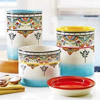 Euro Ceramica Zanzibar 3-Piece Floral Canister Set, Assorted Sizes