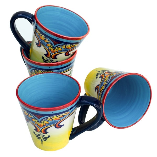 Euro Ceramica Zanzibar Floral 14oz. Fine Ceramic Mugs (Set of 4)