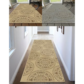 Ottomanson Jardin Medallions Design Indoor/Outdoor Jute Backing Runner Rug (3' X 7')