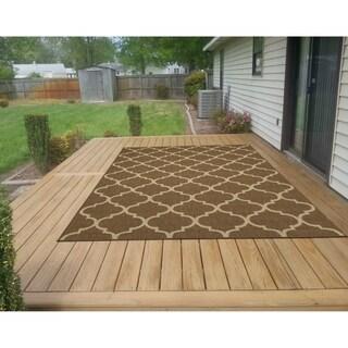 "Ottomanson Jardin Trellis Design Indoor/Outdoor Jute Backing Area Rug - 5'3"" x 7'3"""
