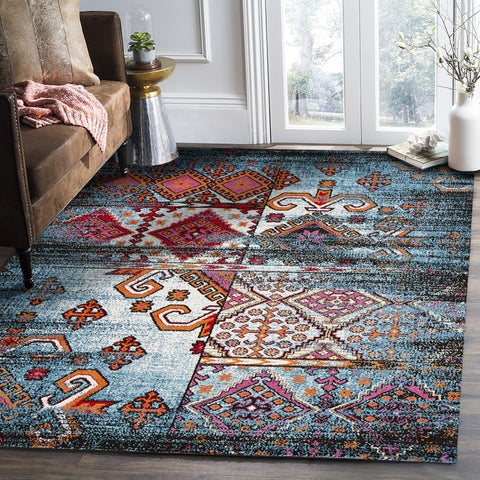 "LR Home Fusion Distressed Geometric Blue/ Black Olefin Rug - 7'9"" x 9'5"""