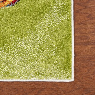 LR Home Fusion Abstract Swirl White / Green Indoor Area Rug (3' x 5') - 3' x 5'