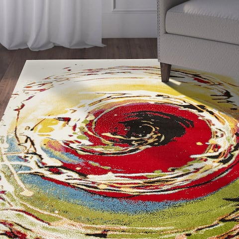LR Home Fusion Abstract Swirl White/ Green Olefin Rug - 7'9 x 9'9