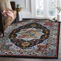 LR Home Fusion Bohemian Medallion Black / Blue Area Rug - 7'9 x 9'9