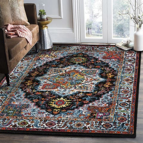 "LR Home Fusion Bohemian Medallion Black / Blue Area Rug (5'7"" x 7'5"") - 5'7"" x 7'8"""