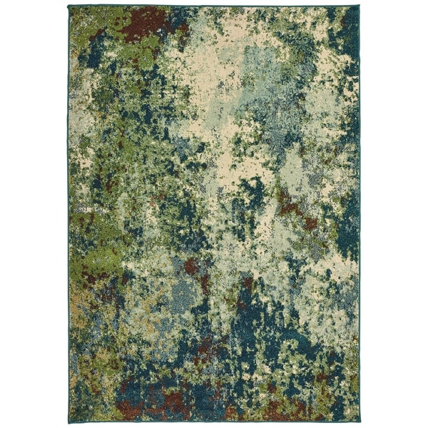 "Abstract Distressed Blue/ Green Area Rug (9'10 X 12'10) - 9'10"" x 12'10"""