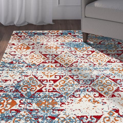 LR Home Fusion Distressed Damask White/ Blue Olefin Rug - 3' x 5'