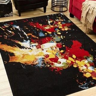 LR Home Fusion Abstract Splash Black Indoor Area Rug - 3' x 5'