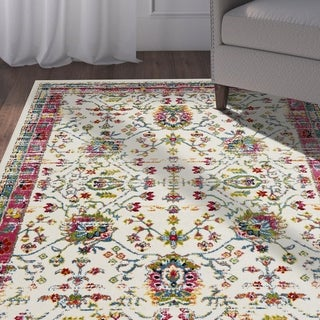 "LR Home Fusion Bright Oriental White/ Blue Olefin Rug - 7'9"" x 9'5"""