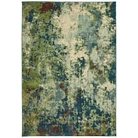 """Style Haven Contemporary Abstract Distressed Blue/Green Area Rug (7'10 x 10'10) - 7'10"""" x 10'10"""""""