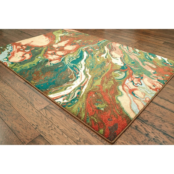 Carson Carrington Froya Abstract Green Gold Area Rug On Sale Overstock 21258580