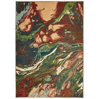 Organic Abstract Rust/ Teal Area Rug - 9'10 x 12'10