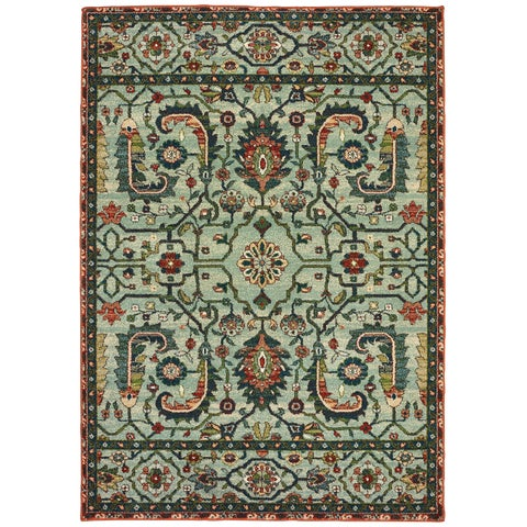 "The Curated Nomad Clemente Vintage Tribal Green/ Rust Area Rug - 9'10"" x 12'10"""
