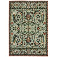 The Curated Nomad Clemente Vintage Tribal Green/Rust Area Rug - 7'10 x 10'10