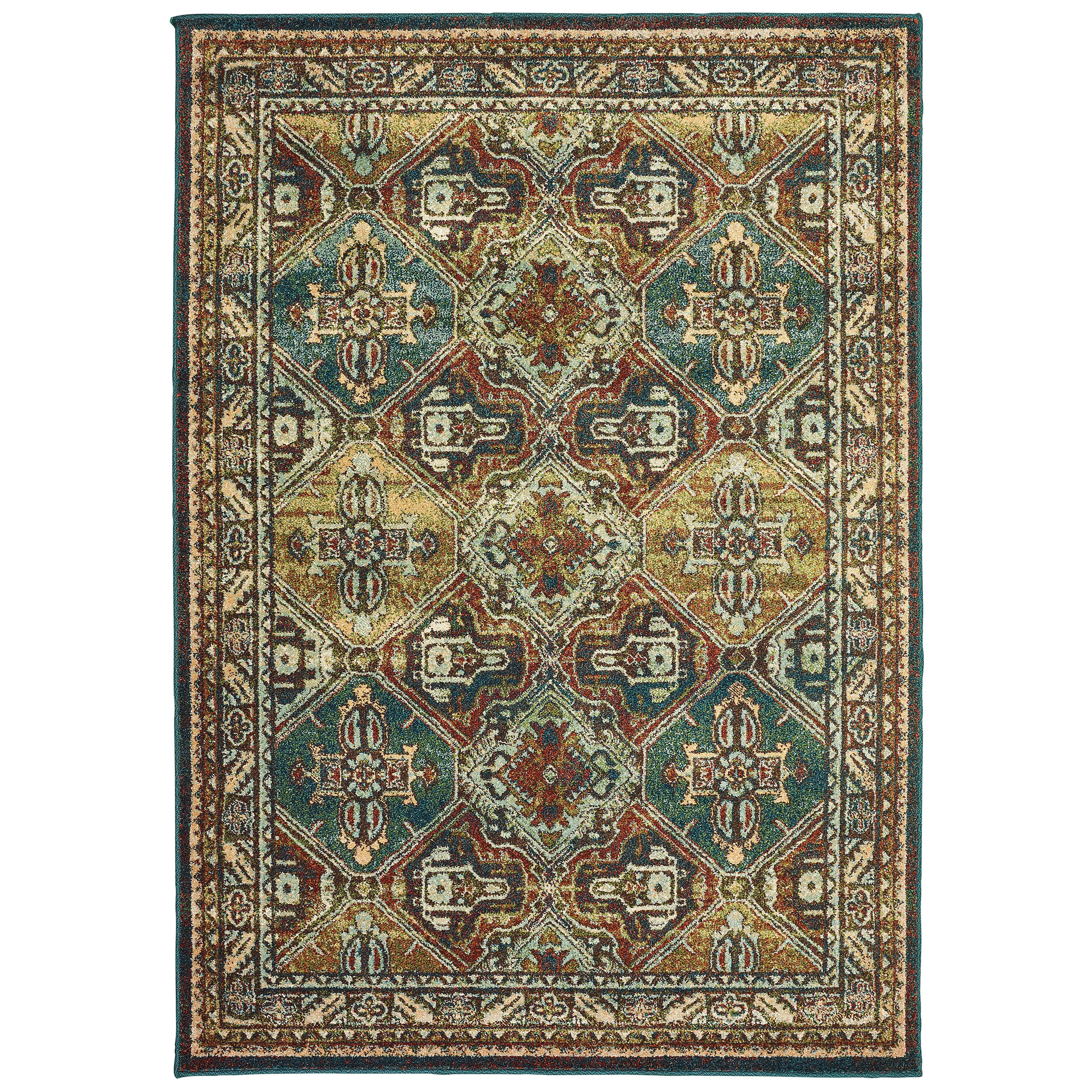 Shop Copper Grove Slatina Teal And Brown Area Rug 7 10 X 10 10