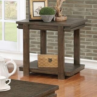Furniture of America Regano Rustic Walnut Open Shelf End Table