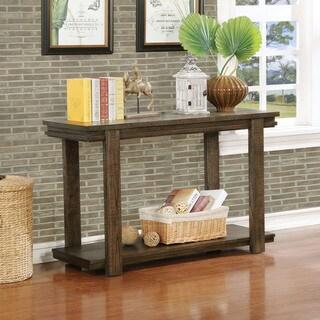 Furniture of America Gine Rustic Walnut Solid Wood 1-shelf Sofa Table