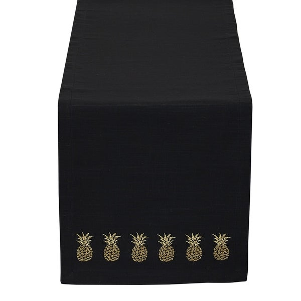Shop Black Gold Pineapple Embroidered Table Runner Free Shipping